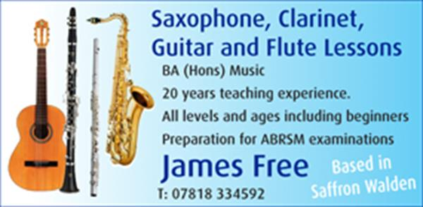 Advert for James Free BA (Hons) Music